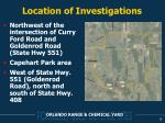 location of investigations
