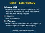 orcy later history