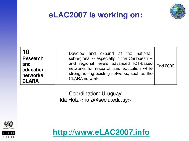 eLAC2007 is working on: