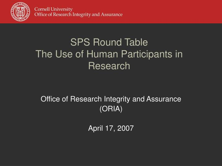 sps round table the use of human participants in research n.