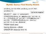 mysql query find nearby hotels