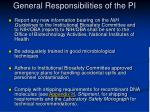 general responsibilities of the pi1