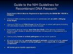 guide to the nih guidelines for recombinant dna research1
