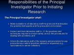 responsibilities of the principal investigator prior to initiating research