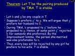theorem let t be the pairing produced by tma t is stable