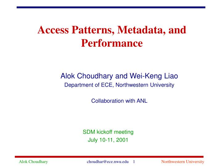 access patterns metadata and performance n.
