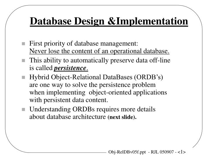 database design implementation n.