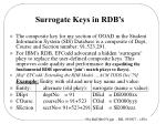 surrogate keys in rdb s