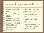 range of programmes in clare