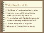 wider benefits of fl