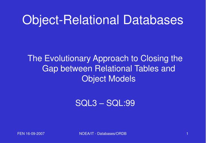 object relational databases n.
