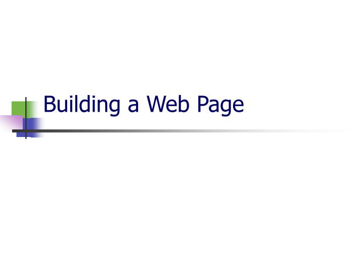 building a web page n.