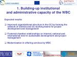 1 building up institutional and administrative capacity of the wbc