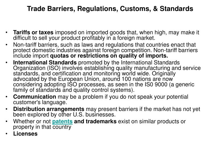 tariffs and quotas essay Even though tariffs are unconcealed and can be dealt with by means of uncomplicated procedures, there are many non-tariff barriers, such as administrative refinement (arbitrary tariff classification), quantitative limitations (quotas and embargoes), and customs management (uplifting invoice value), resulting in grave complexities for the exporter.
