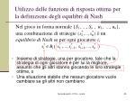 utilizzo delle funzioni di risposta ottima per la definizione degli equilibri di nash