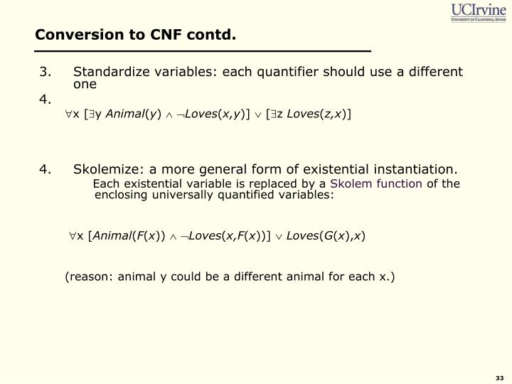 Conversion to CNF contd.