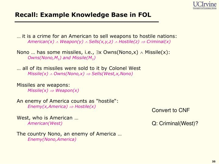 Recall: Example Knowledge Base in FOL