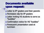 documents available upon request