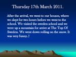 thursday 17th march 2011