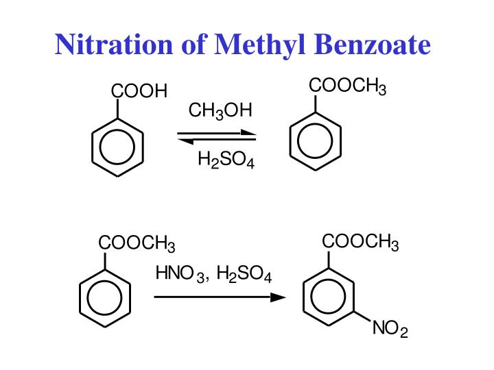 experiment 18 nitration of methyl benzoate Nitration of methyl benzoate johnson in this experiment i reacted methyl benzoate with nitric acid in order to observe the retrieval of methyl m.