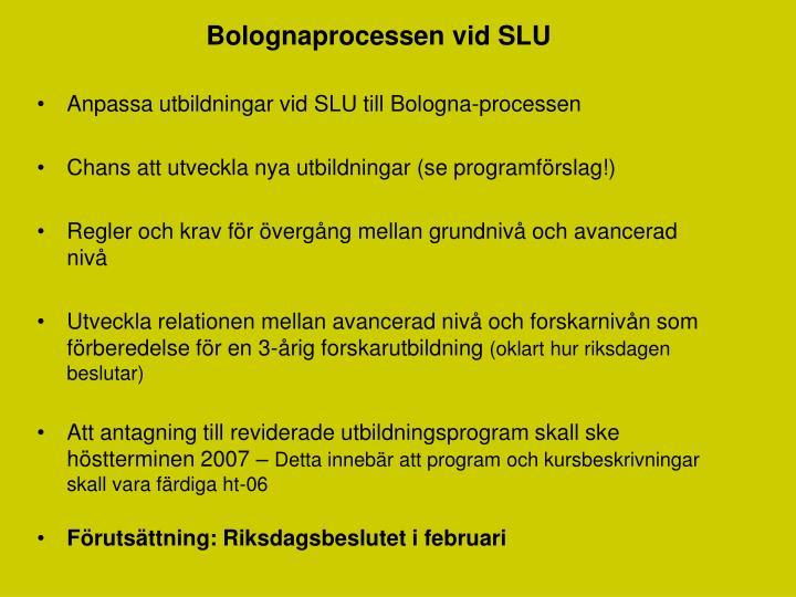 Bolognaprocessen vid SLU