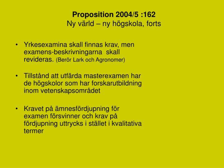 Proposition 2004 5 162 ny v rld ny h gskola forts