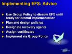 implementing efs advice