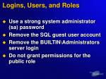 logins users and roles