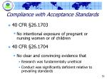 compliance with acceptance standards1
