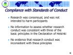 compliance with standards of conduct