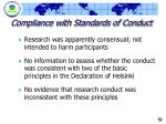 compliance with standards of conduct1