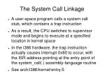 the system call linkage