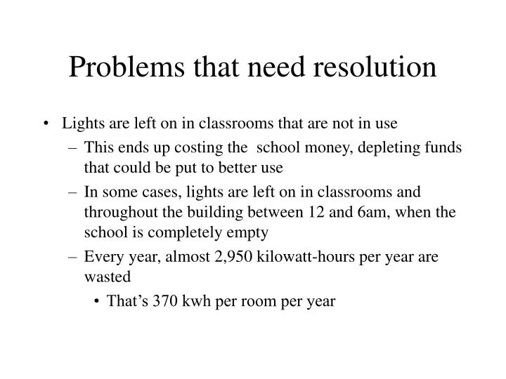 Problems that need resolution