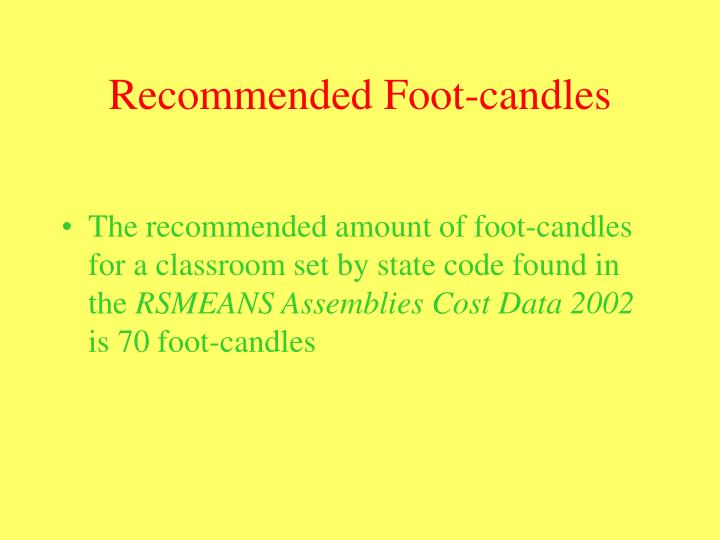 Recommended Foot-candles