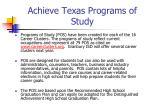 achieve texas programs of study