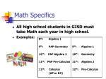 math specifics
