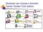 students can choose a favorite career cluster from below