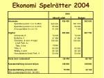 ekonomi spelr tter 2004