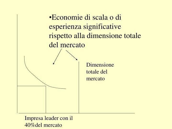 Economie di scala o di esperienza significative rispetto alla dimensione totale del mercato