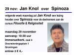 29 nov jan knol over spinoza