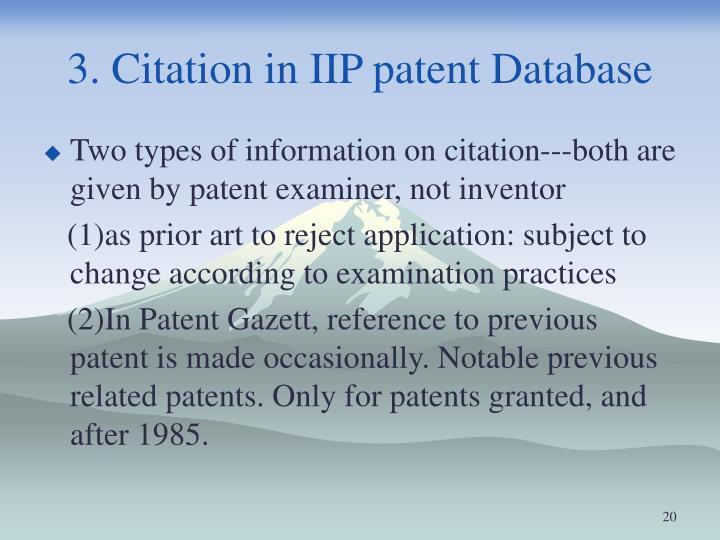3. Citation in IIP patent Database