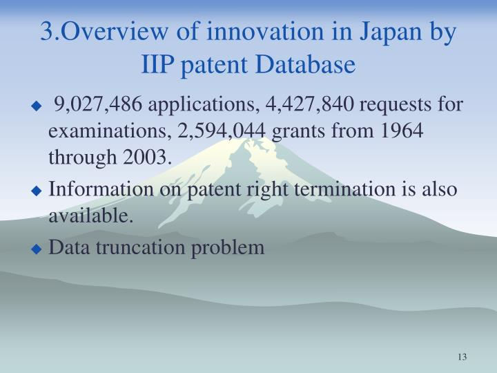 3.Overview of innovation in Japan by IIP patent Database