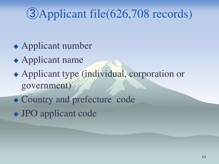 ③Applicant file(626,708 records)