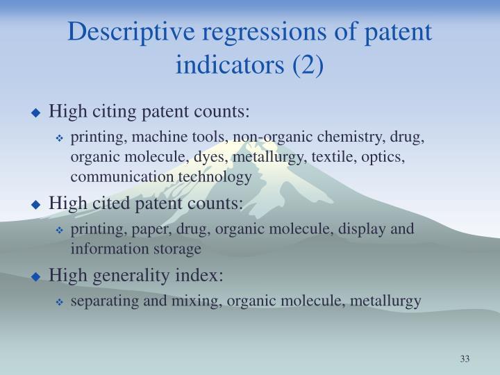 Descriptive regressions of patent indicators (2)