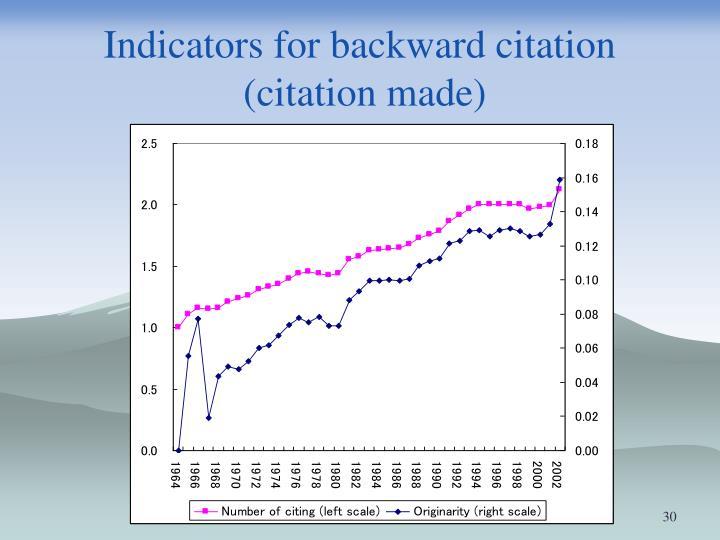 Indicators for backward citation