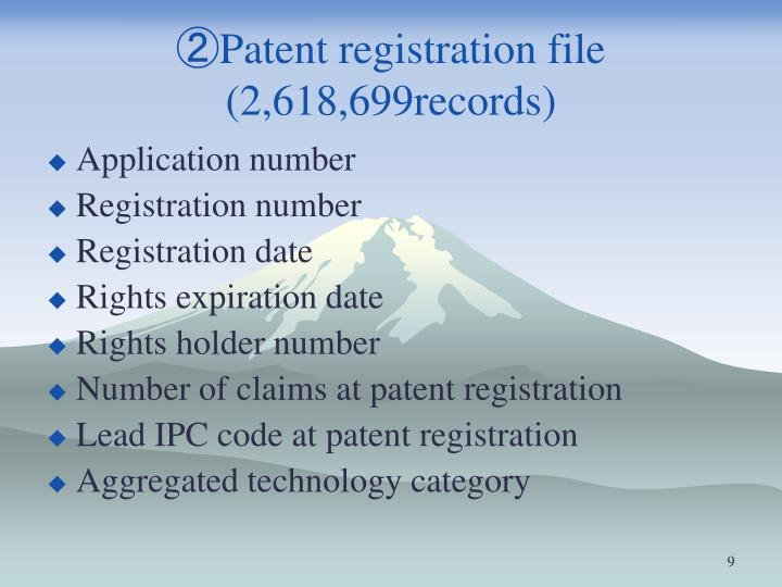 ②Patent registration file (2,618,699records)