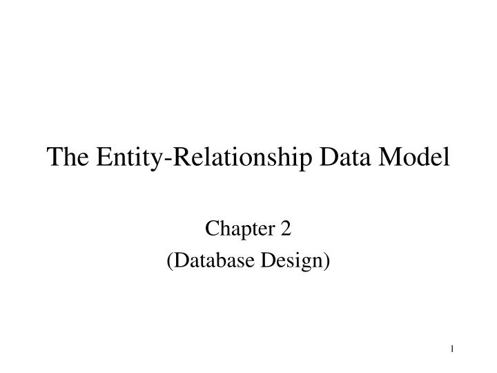 the entity relationship data model n.