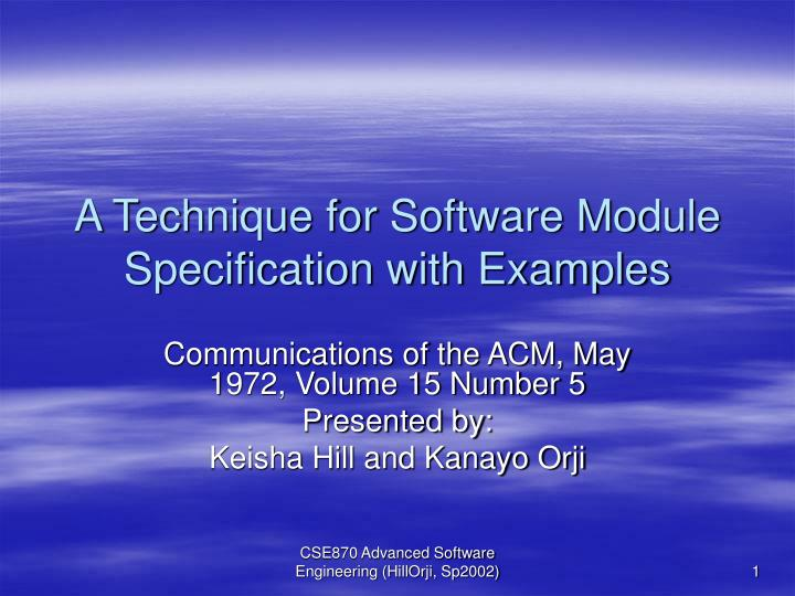 a technique for software module specification with examples n.