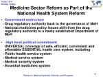 medicine sector reform as part of the national health system reform