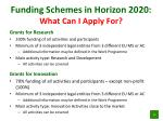 funding schemes in horizon 2020 what can i apply for